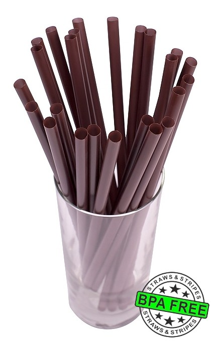 SMOOTHIE drinking straws 10.00 x 0.28 inch - color: brown