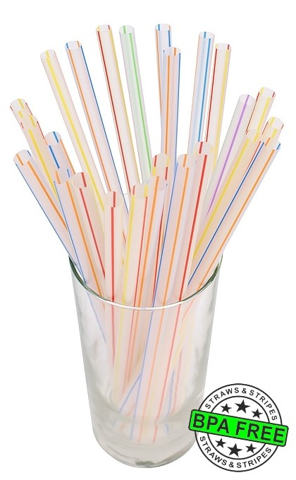 SMOOTHIE drinking straws 10.00 x 0.28 inch - color: c/mc str.*