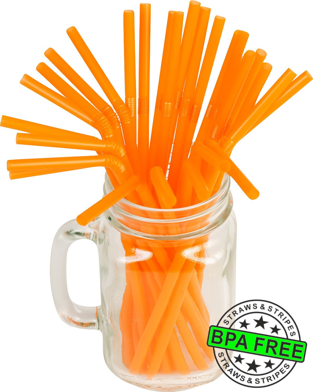 Flexible drinking straws 8.25 x 0.23 inch - color: orange