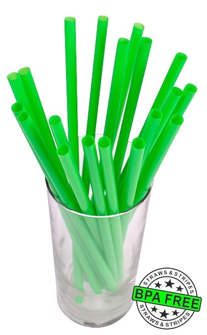 SMOOTHIE drinking straws 10.00 x 0.28 inch - color: green