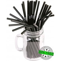 Flexible drinking straws 8.25 x 0.23 inch - color: black