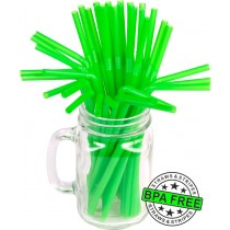 Flexible drinking straws 8.25 x 0.23 inch - color: green