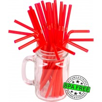 Flexible drinking straws 8.25 x 0.23 inch - color: red
