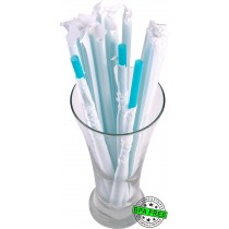 1 CASE - 2,500 PAPER WRAPPED SMOOTHIE drinking straws 10 x 0.28 inch - color: aqua