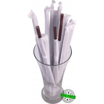 1 CASE - 2,500 PAPER WRAPPED SMOOTHIE drinking straws 10 x 0.28 inch - color: brown