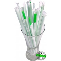 1 CASE - 2,500 PAPER WRAPPED SMOOTHIE drinking straws 10 x 0.28 inch - color: green