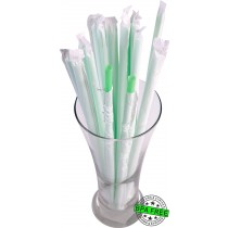 1 CASE - 2,500 PAPER WRAPPED SMOOTHIE drinking straws 10 x 0.28 inch - color: mint