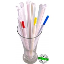 1 CASE - 2,500 PAPER WRAPPED SMOOTHIE drinking straws 10 x 0.28 inch - color: mixed color
