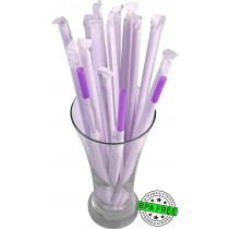 1 CASE - 2,500 PAPER WRAPPED SMOOTHIE drinking straws 10 x 0.28 inch - color: purple