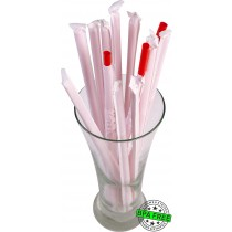 1 CASE - 2,500 PAPER WRAPPED SMOOTHIE drinking straws 10 x 0.28 inch - color: red