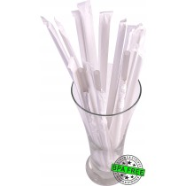 1 CASE - 2,500 PAPER WRAPPED SMOOTHIE drinking straws 10 x 0.28 inch - color: silver