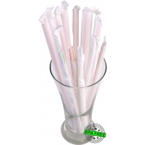 1 CASE - 2,500 PAPER WRAPPED SMOOTHIE drinking straws 10 x 0.28 inch - color: w/mc str.*