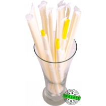 1 CASE - 2,500 PAPER WRAPPED SMOOTHIE drinking straws 10 x 0.28 inch - color: yellow