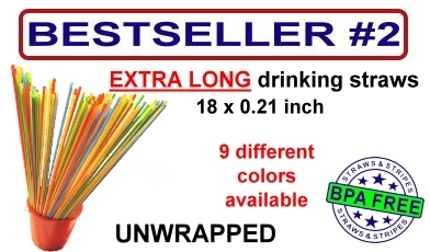 extra long drinking straws - 18 inch long - 9 different colors