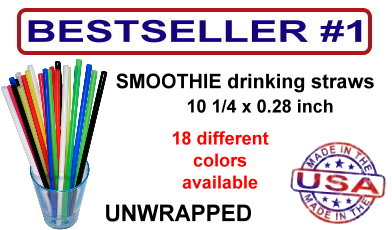 smoothie drinking straws in 18 different colors