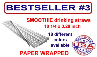 paper wrapped smoothie drinking straws in 18 different colors